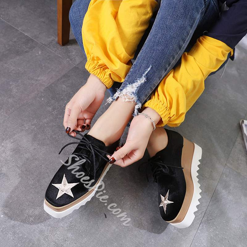 Shoespie Trendy Lace-Up Square Toe Platform Loafers