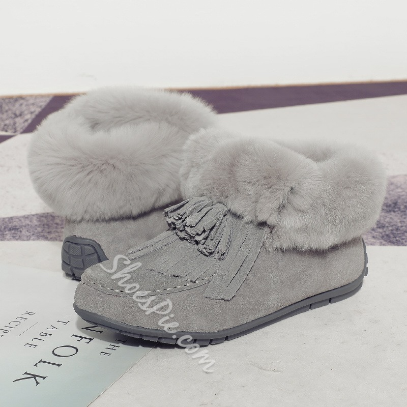 Shoespie Warm Fringe Slip-On Round Toe Snow Boots