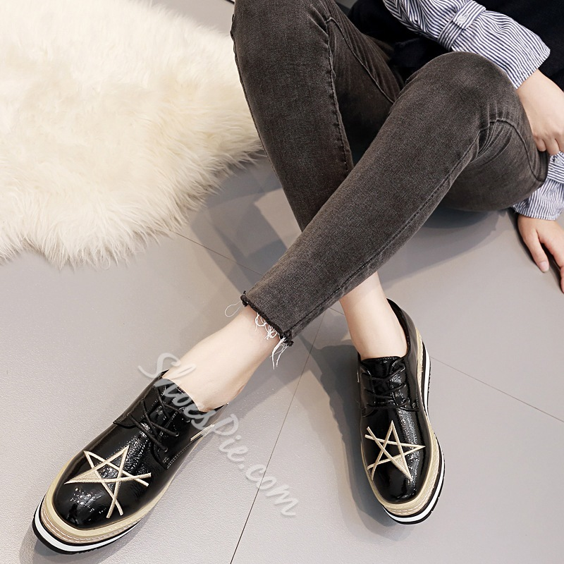 Shoespie Trendy Lace-Up Platform Star Loafers