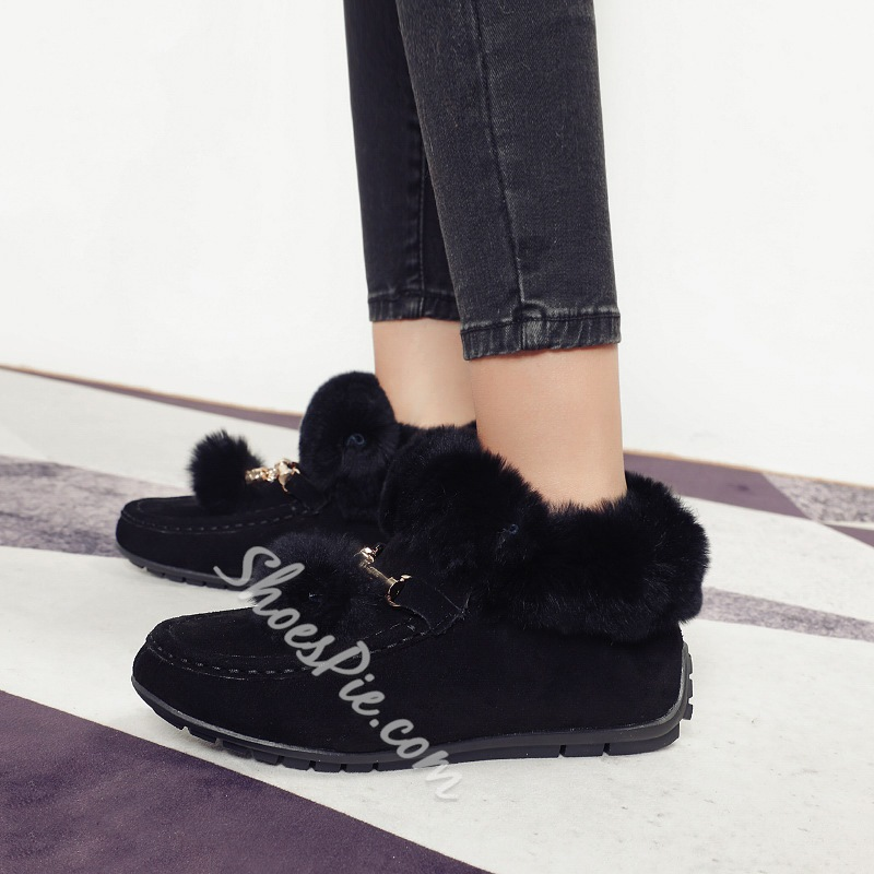 Shoespie Warm Slip-On Flat Ankle Snow Boots