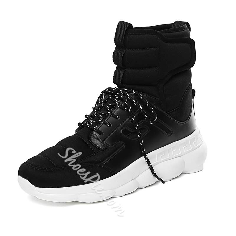 Shoespie Lace-Up High-Cut Round Toe Men's Sneakers