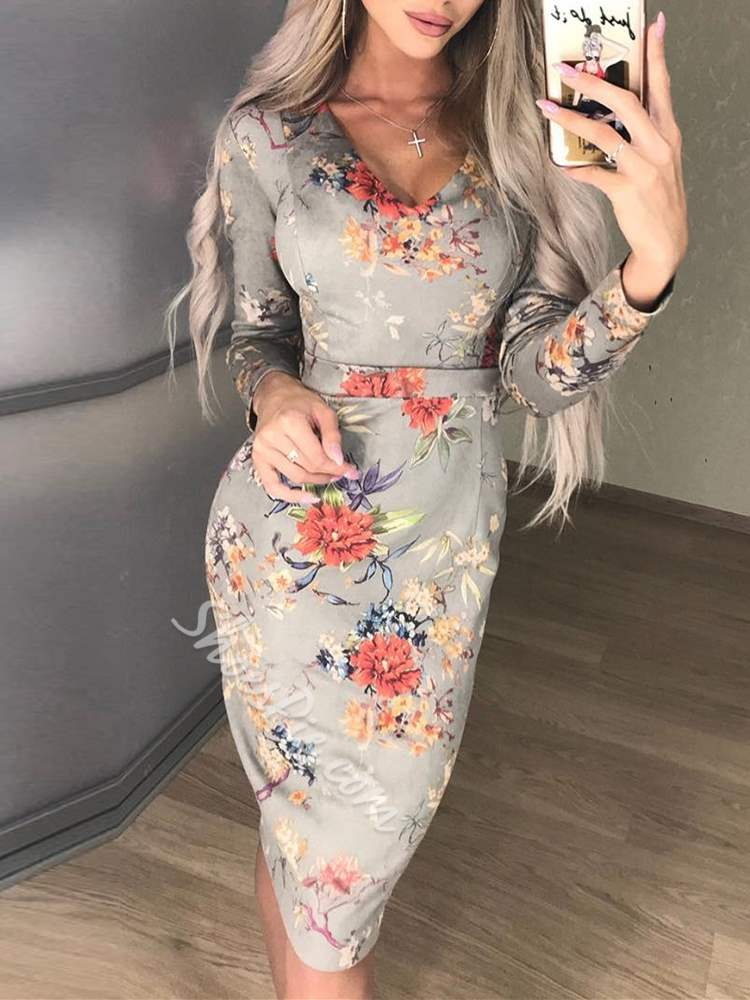 Long Sleeve Pullover Print Floral Women's Bodycon Dress