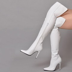 Shoespie Trendy White Pointed Toe Side Zipper Thigh High Boots