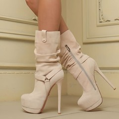 Shoespie Trendy Plain Round Toe Stiletto Heel Ankle Boots
