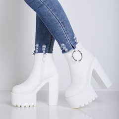 Shoespie Platform Side Zipper Chunky Heel Ankle Boot