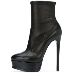 Shoespie Sexy Black Stiletto Heel Slip-On Ankle Boots
