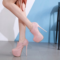 Shoespie Trendy Platform Sequins Stiletto Heel Ankle Boots