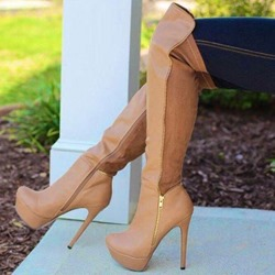 Shoespie Sexy Plain Round Toe Stiletto Heel Knee High Boots