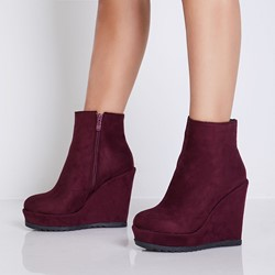 Shoespie Trendy Side Zipper Wedge Heel Ankle Boots