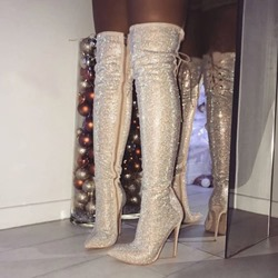Shoespie Stylish Plain Side Zipper Stiletto Heel Thigh High Glitter Boots