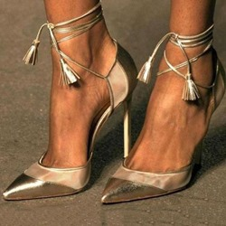 Shoespie Golden Trendy Pointed Toe Lace-Up Stiletto Heels
