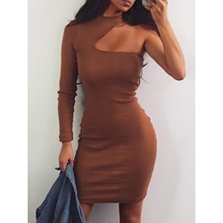 Long Sleeve Asymmetric Polyester Women's Bodycon Dress
