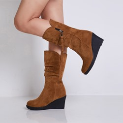 shoespie Trendy Side Zipper Round Toe Wedge Heel Western Boots