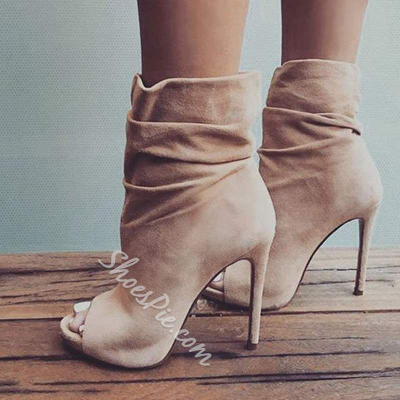 Shoespie Trendy Suede Stiletto Heel Open Toe Ankle Boots