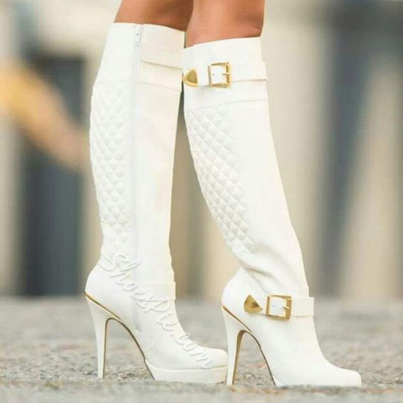 Shoespie Stylish White Stiletto Heel Side Zipper Knee High Boots