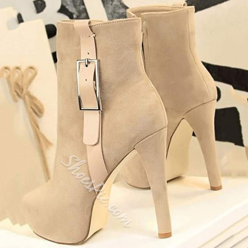Shoespie Trendy Round Toe Stiletto Heel Buckle Ankle Boots