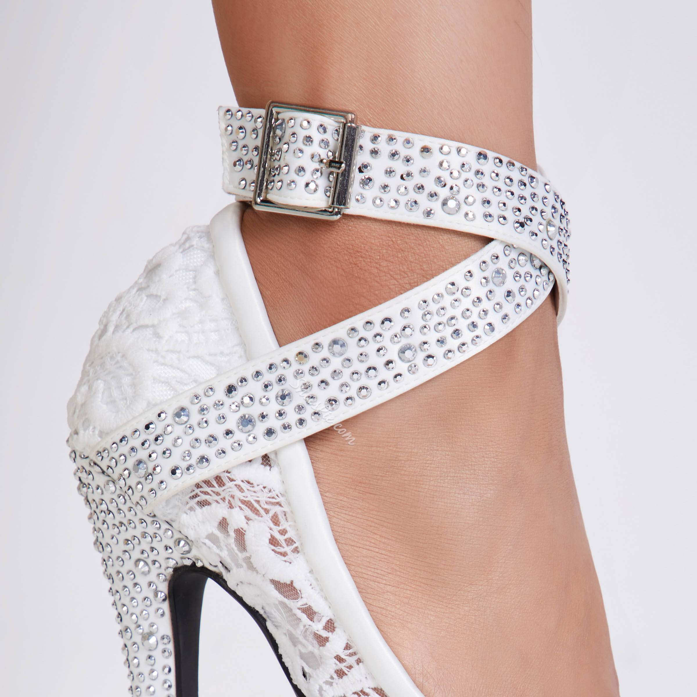 White Peep Toe Ankle Strap Stiletto Heels