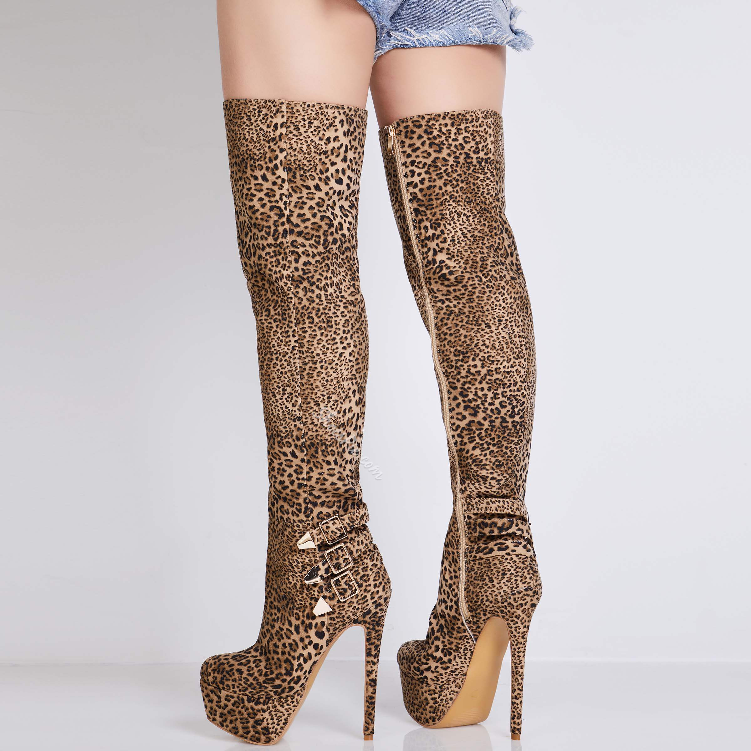 Shoespie Sexy Side Zipper Leopard Over Knee High Boots