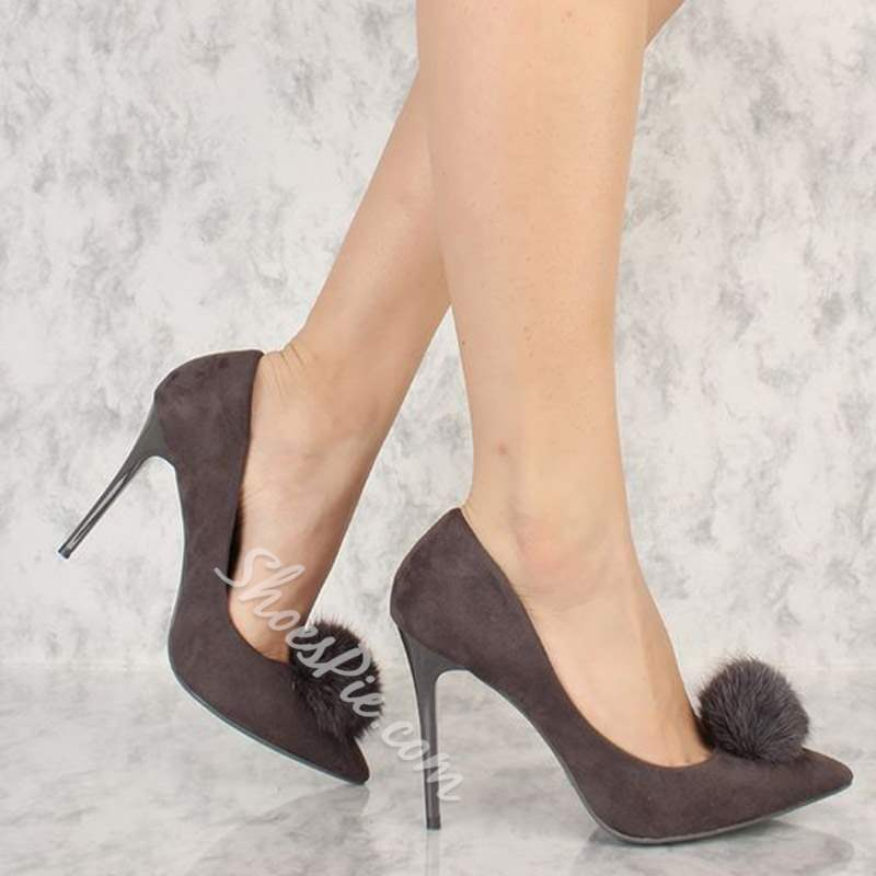 Shoespie Trendy Pointed Toe Pompon Slip-On Stiletto Heels