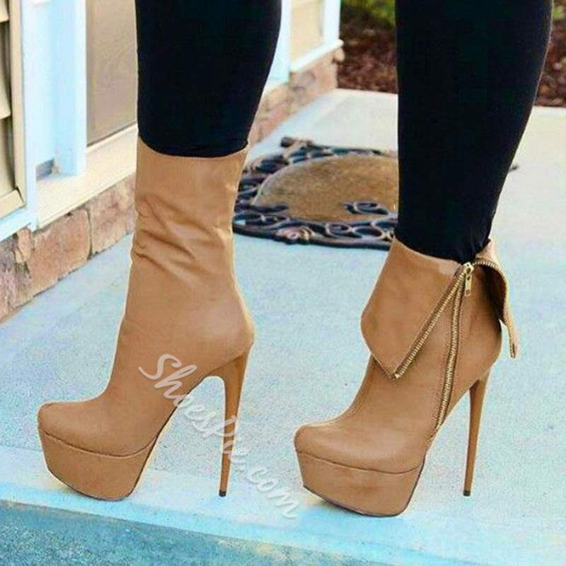 Shoespie Stylish Side Zipper Stiletto Heel Ankle Boots