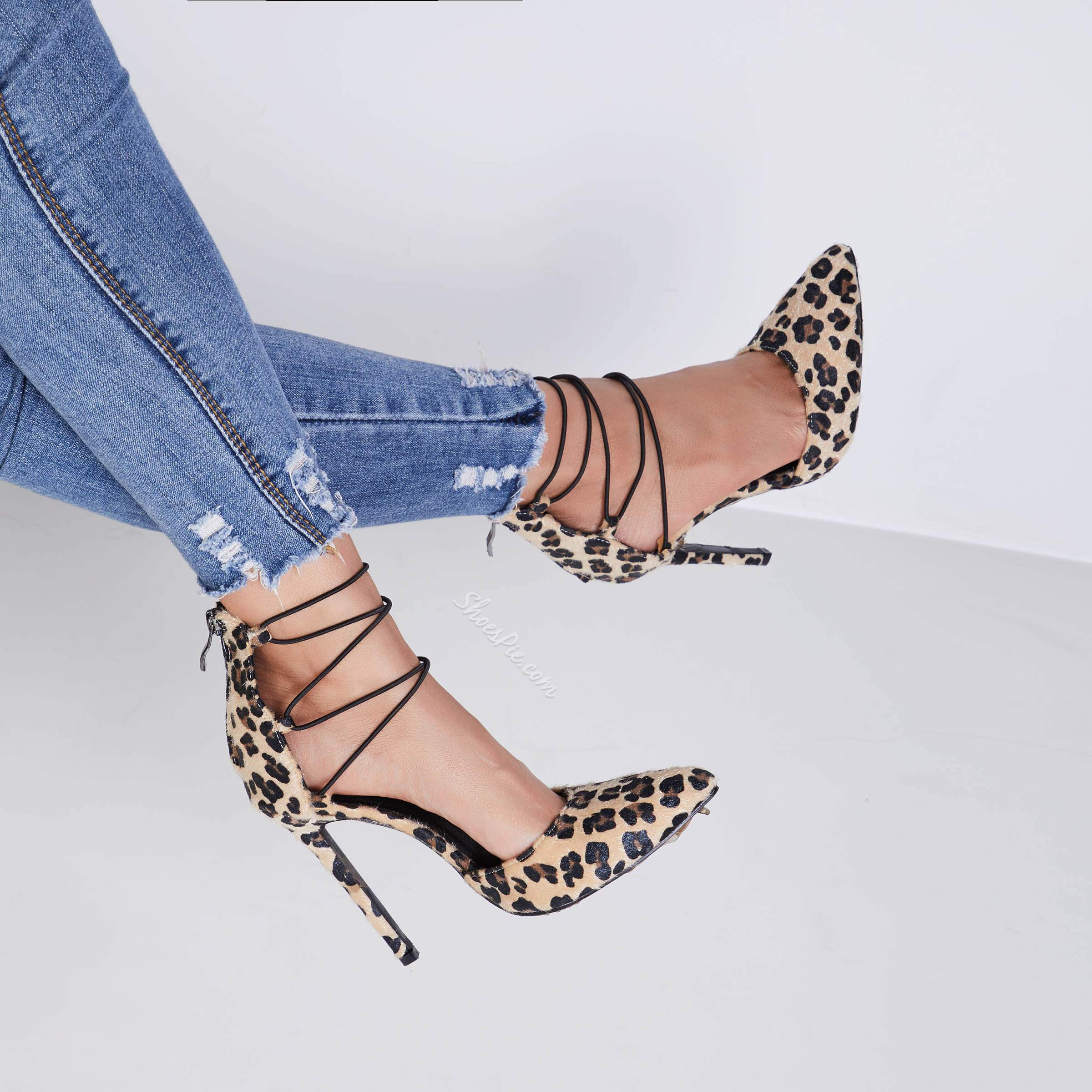 Shoespie Leopard Sexy Suede Lace Up Stiletto Heels