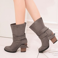 Shoespie Sexy Chunky Heel Slip-On Buckle Ankle Boots