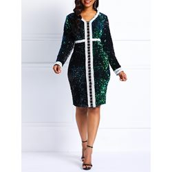 Pullover V-Neck Sequins Spring Women's Bodycon Dress