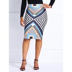Mini Skirt Print Pencil Skirt High-Waist Women's Skirt