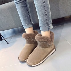 Shoespie Trendy Rhinestone Slip-On Short Snow Boots