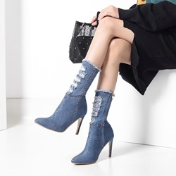Shoespie Denim Side Zipper Stiletto Heel Ankle Boots