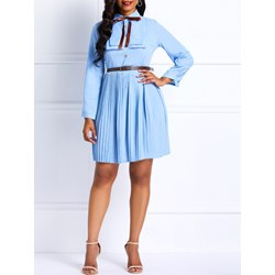 Long Sleeve Plain Button Belt Women's Maxi Dress