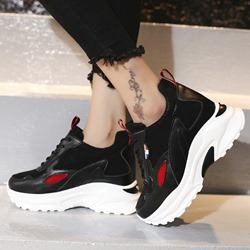Shoespie Stylish Lace-Up Platform Patchwork Sneakers