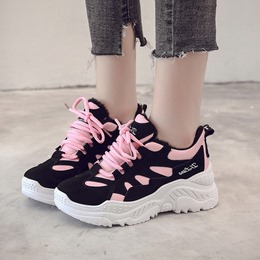 Shoespie Casual Platform Mesh Lace-Up Sneakers