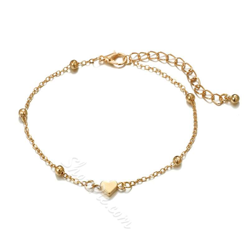 Heart-Shaped E-Plating Layered Anklets