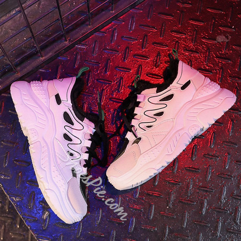 Shoespie Stylish Lace-Up Round Toe Platform Sneakers