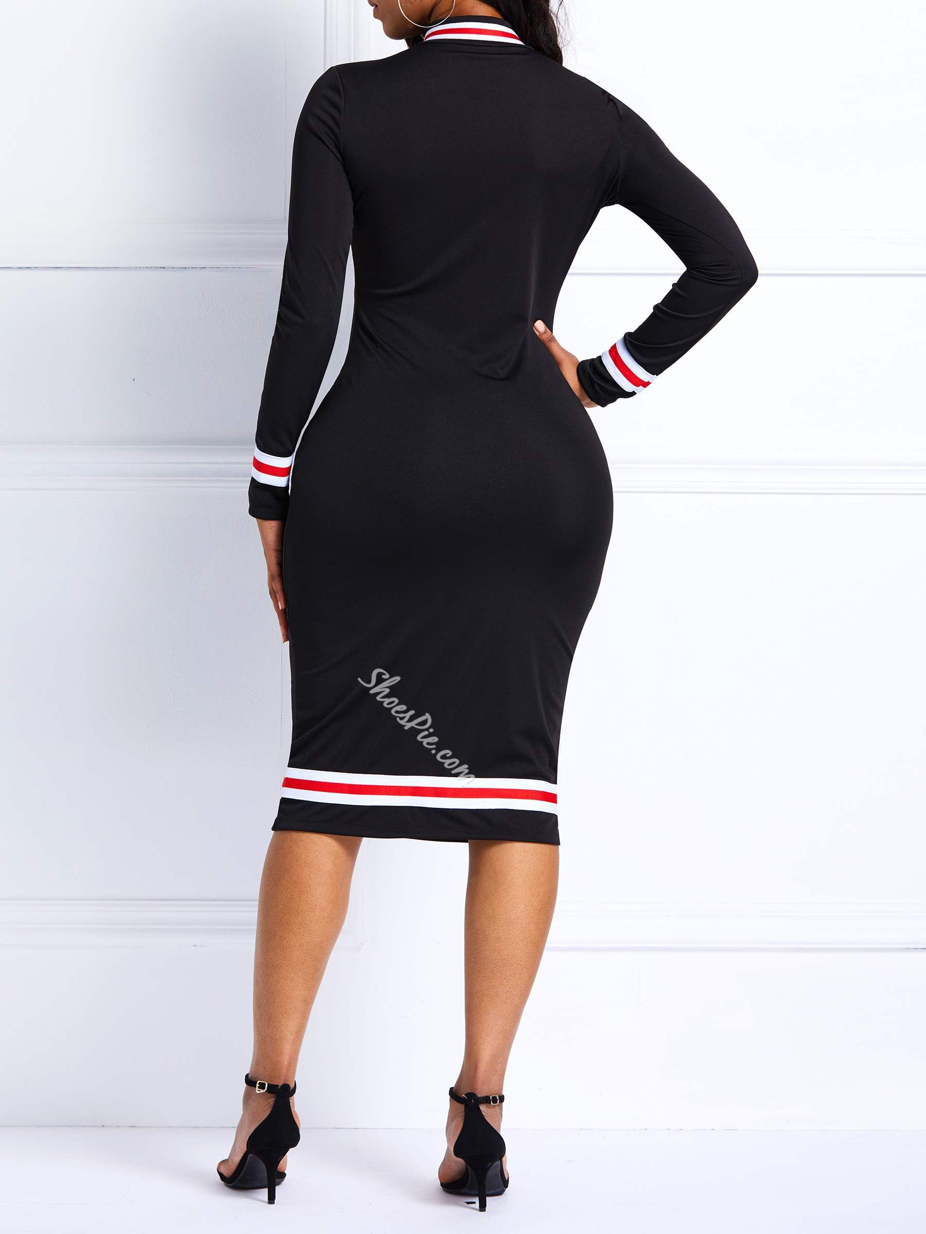 Knee-Length Zipper Spring Women's Bodycon Dress