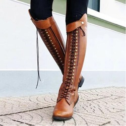 Shoespie Stylish Round Toe Lace Up RidingKnee High Boots