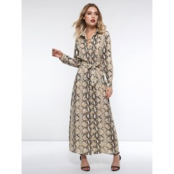 Polo Neck Lace-Up Button Print Women's Maxi Dress