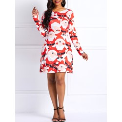 Christmas Print Cartoon Women's Bodycon Dress
