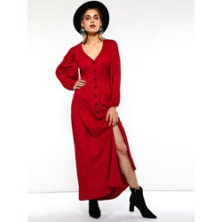 V-Neck Long Sleeve Button Women's Maxi Dress