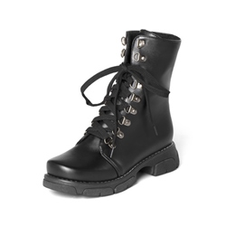 Shoespie Sexy Round Toe Lace-Up Motorcycle Ankle Boots