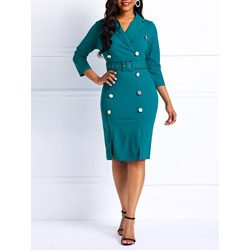 Mermaid Button Pullover Notched Lapel Women's Bodycon Dress