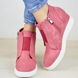 Shoespie Stylish Round Toe Wedge Heel High Top Sneakers
