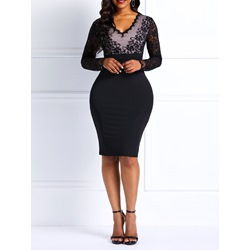 Long Sleeve V-Neck Pullover Women's Bodycon Dress