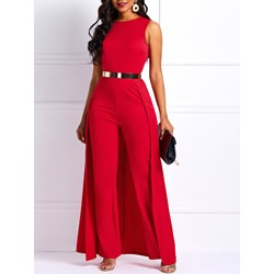 Full Length Belt Travel Look High Waist Women's Jumpsuit