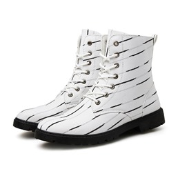 Shoespie Round Toe Stripe Lace Up Men's Ankle Boots