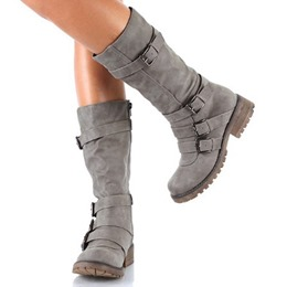 Shoespie Casual Side Zipper Buckle Knee Highl Boots