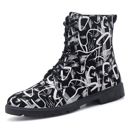 Shoespie Round Toe Lace-Up Men's Ankle Boots