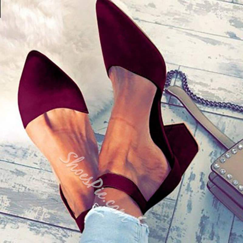 Shoespie Stylish Pointed Toe Zipper Chunky Heel Casual Loafers