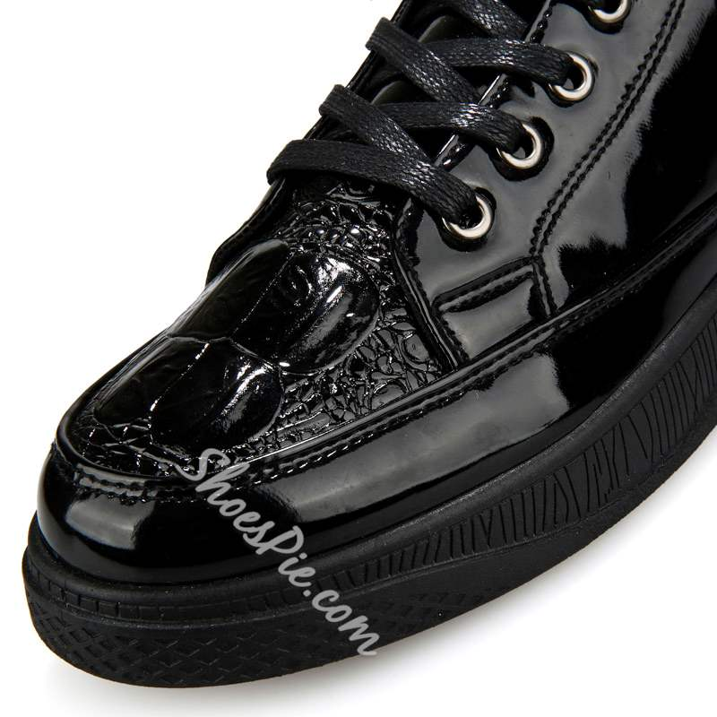 Shoespie Black Plain Round Toe Lace-Up Men's Sneakers